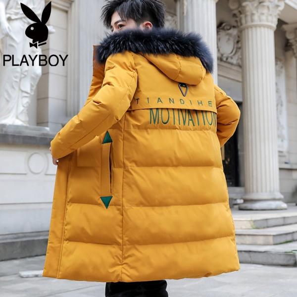 Playboy эрэгтэй хүрэм өвлийн 2019 оны шинэ хөвөн цув Солонгосын трендийн даавуун хувцас нь дунд зэргийн урт даавуун хүрэм өтгөрүүлсэн